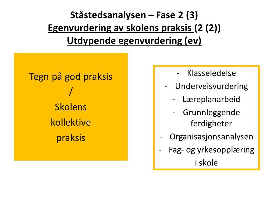 Ståstedsanalysen – Fase 2 (3) Egenvurdering av skolens praksis (2 (2)) Utdypende egenvurdering (ev) Tegn på god praksis / Skolens kollektive praksis -
