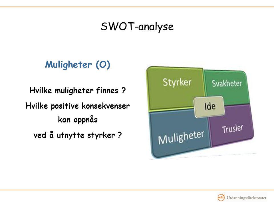 SWOT-analyse Muligheter (O) Hvilke muligheter finnes ? Hvilke positive konsekvenser kan oppnås ved å utnytte styrker ?