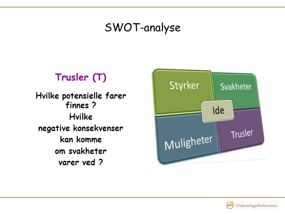 SWOT-analyse Trusler (T) Hvilke potensielle farer finnes ? Hvilke negative konsekvenser kan komme om svakheter varer ved ?
