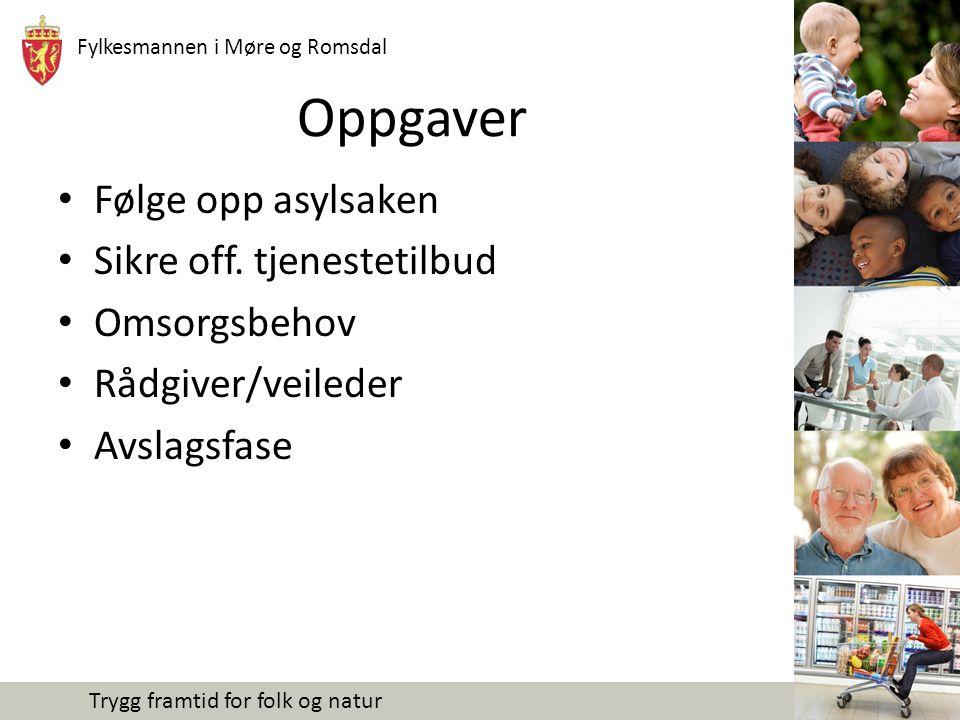 Fylkesmannen i Møre og Romsdal Trygg framtid for folk og natur Oppgaver Følge opp asylsaken Sikre off.