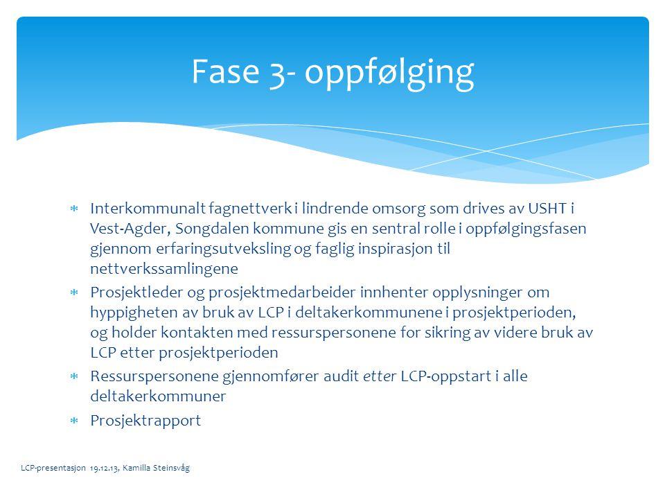  Interkommunalt fagnettverk i lindrende omsorg som drives av USHT i Vest-Agder, Songdalen kommune gis en sentral rolle i oppfølgingsfasen gjennom erf