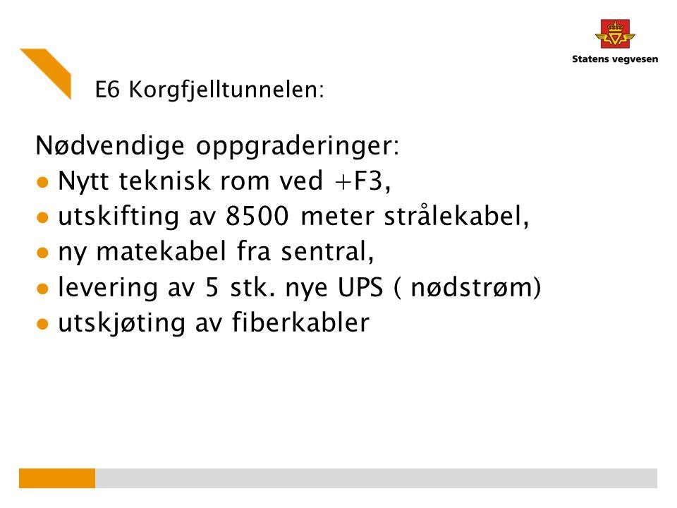 E6 Korgfjelltunnelen: Nødvendige oppgraderinger: ● Nytt teknisk rom ved +F3, ● utskifting av 8500 meter strålekabel, ● ny matekabel fra sentral, ● lev