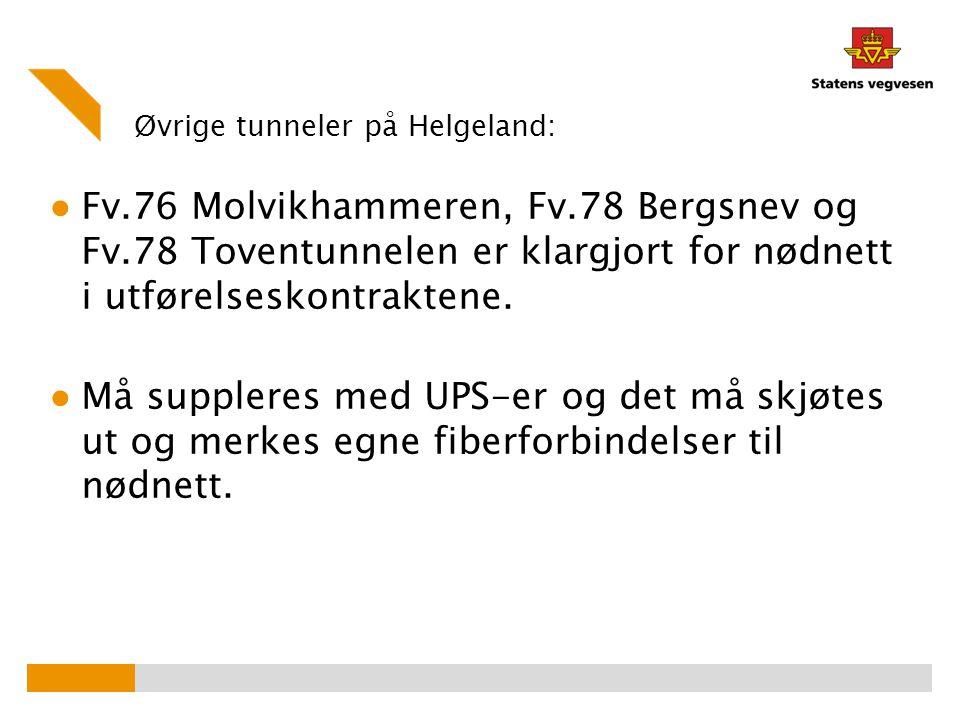 Øvrige tunneler på Helgeland: ● Fv.76 Molvikhammeren, Fv.78 Bergsnev og Fv.78 Toventunnelen er klargjort for nødnett i utførelseskontraktene. ● Må sup