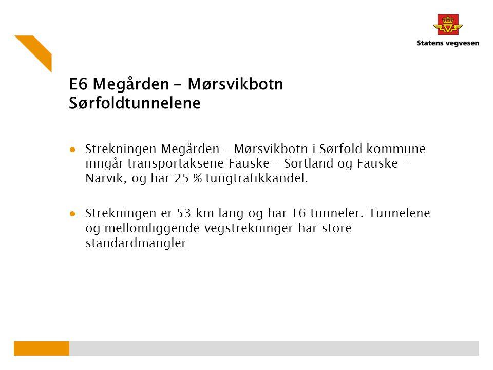 E6 Megården - Mørsvikbotn Sørfoldtunnelene ● Strekningen Megården – Mørsvikbotn i Sørfold kommune inngår transportaksene Fauske – Sortland og Fauske –