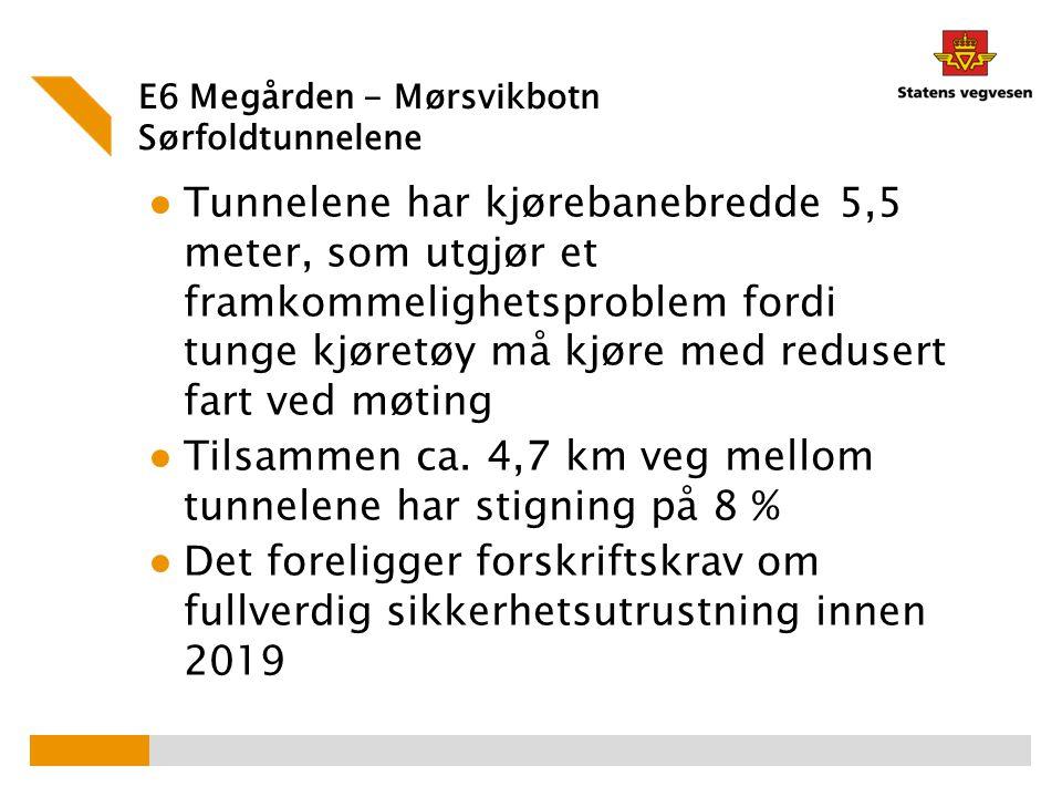 E6 Megården - Mørsvikbotn Sørfoldtunnelene ● Tunnelene har kjørebanebredde 5,5 meter, som utgjør et framkommelighetsproblem fordi tunge kjøretøy må kj