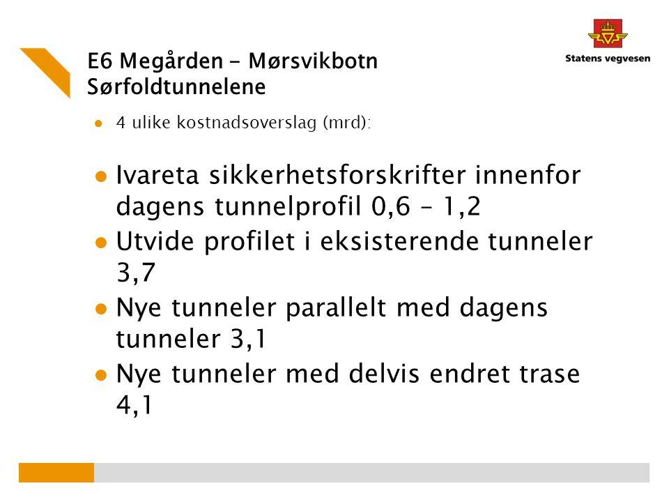 E6 Megården - Mørsvikbotn Sørfoldtunnelene ● 4 ulike kostnadsoverslag (mrd): ● Ivareta sikkerhetsforskrifter innenfor dagens tunnelprofil 0,6 – 1,2 ●