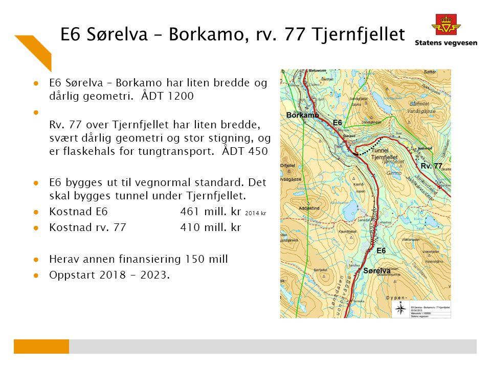 E6 Sørelva – Borkamo, rv. 77 Tjernfjellet ● E6 Sørelva – Borkamo har liten bredde og dårlig geometri. ÅDT 1200 ● Rv. 77 over Tjernfjellet har liten br