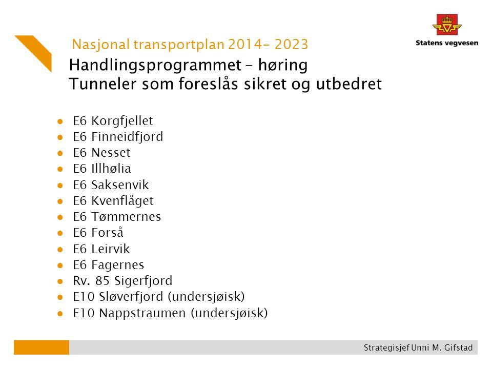 Handlingsprogrammet – høring Tunneler som foreslås sikret og utbedret ● E6 Korgfjellet ● E6 Finneidfjord ● E6 Nesset ● E6 Illhølia ● E6 Saksenvik ● E6