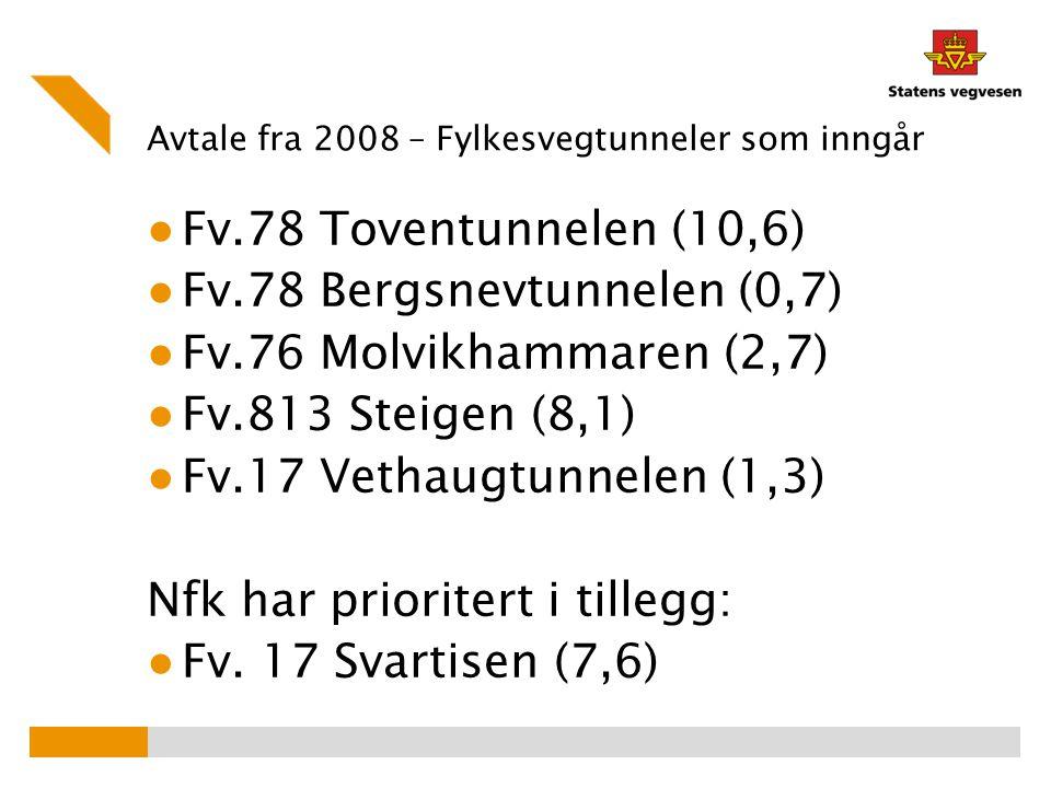 Avtale fra 2008 – Fylkesvegtunneler som inngår ● Fv.78 Toventunnelen (10,6) ● Fv.78 Bergsnevtunnelen (0,7) ● Fv.76 Molvikhammaren (2,7) ● Fv.813 Steig