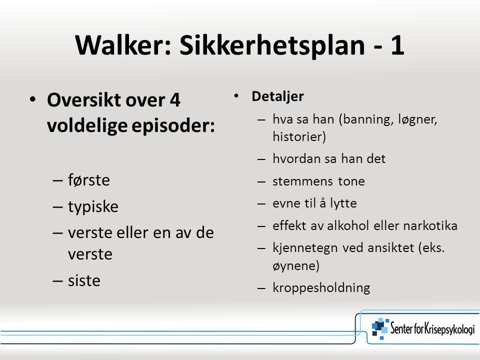 Walker: Sikkerhetsplan - 1 Oversikt over 4 voldelige episoder: – første – typiske – verste eller en av de verste – siste Detaljer – hva sa han (bannin