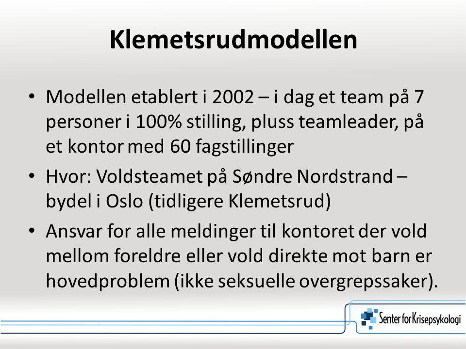 Klemetsrudmodellen Modellen etablert i 2002 – i dag et team på 7 personer i 100% stilling, pluss teamleader, på et kontor med 60 fagstillinger Hvor: V