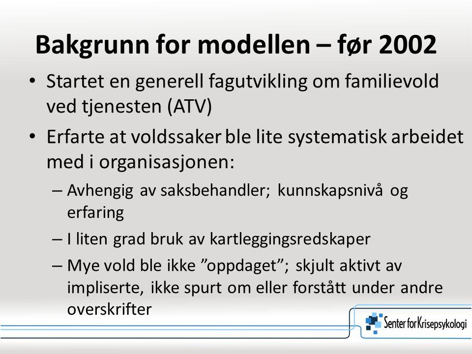 Bakgrunn for modellen – før 2002 Startet en generell fagutvikling om familievold ved tjenesten (ATV) Erfarte at voldssaker ble lite systematisk arbeid