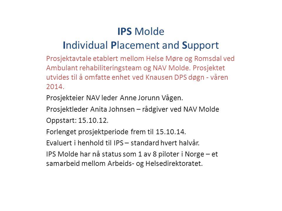 IPS Molde Individual Placement and Support Prosjektavtale etablert mellom Helse Møre og Romsdal ved Ambulant rehabiliteringsteam og NAV Molde. Prosjek