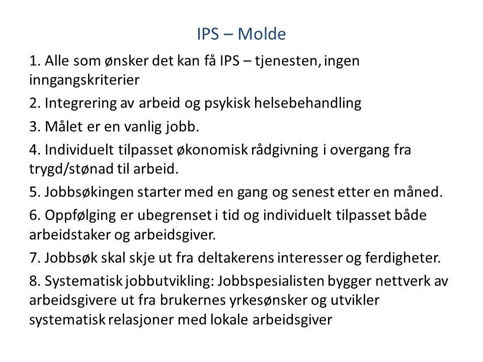 IPS – Molde 1. Alle som ønsker det kan få IPS – tjenesten, ingen inngangskriterier 2. Integrering av arbeid og psykisk helsebehandling 3. Målet er en