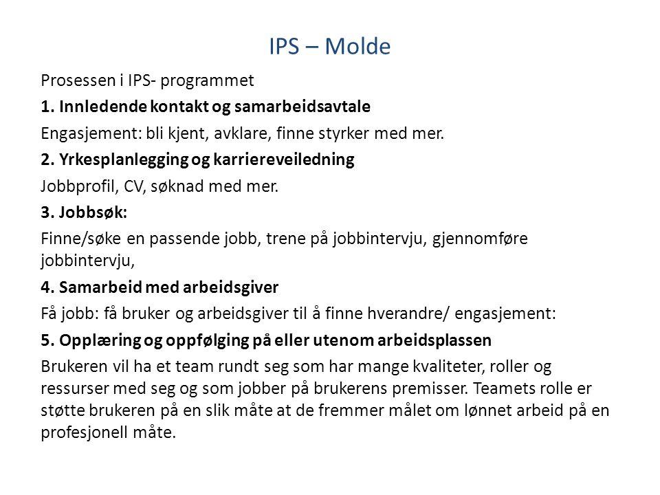IPS – Molde Prosessen i IPS- programmet 1. Innledende kontakt og samarbeidsavtale Engasjement: bli kjent, avklare, finne styrker med mer. 2. Yrkesplan