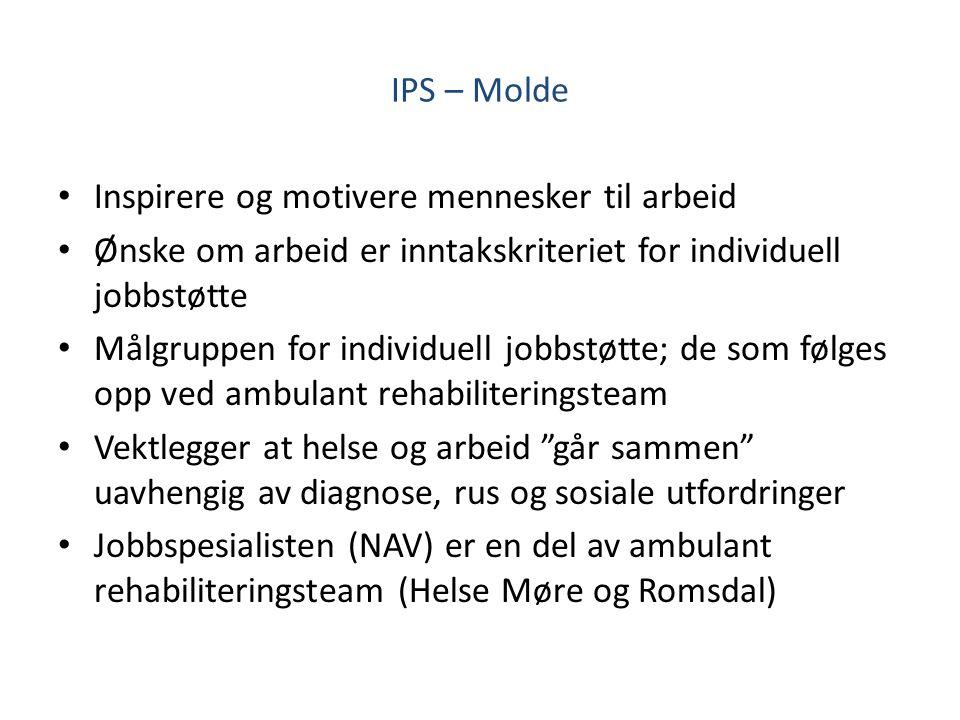 IPS – Molde Inspirere og motivere mennesker til arbeid Ønske om arbeid er inntakskriteriet for individuell jobbstøtte Målgruppen for individuell jobbs