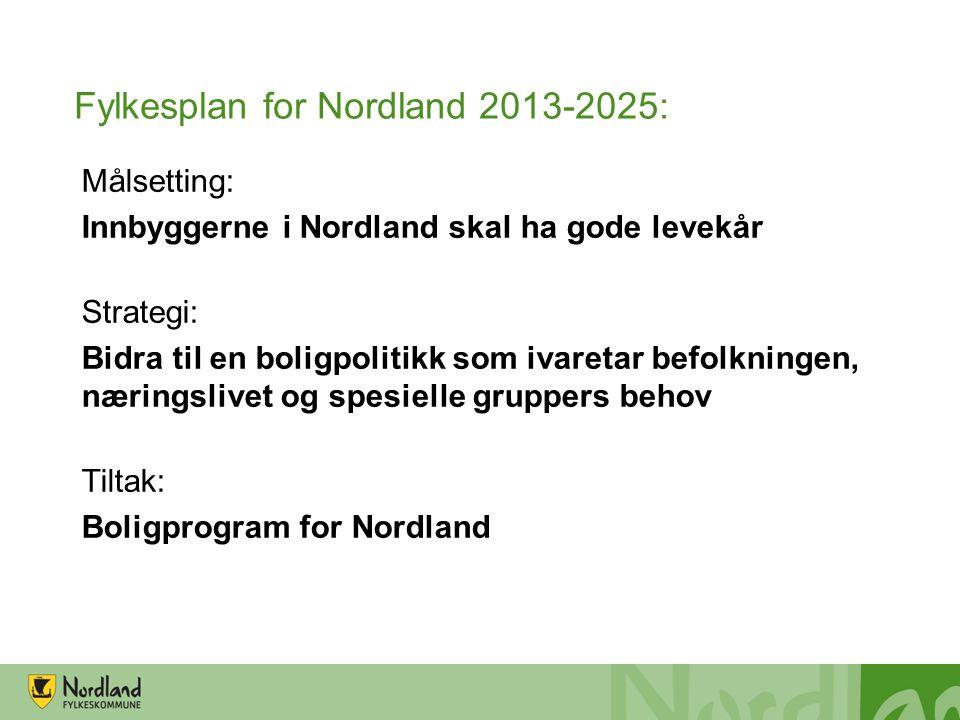 Fylkesplan for Nordland 2013-2025: Målsetting: Innbyggerne i Nordland skal ha gode levekår Strategi: Bidra til en boligpolitikk som ivaretar befolknin