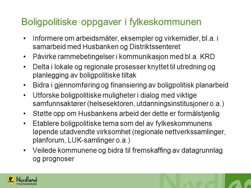 Boligpolitiske oppgaver i fylkeskommunen Informere om arbeidsmåter, eksempler og virkemidler, bl.a. i samarbeid med Husbanken og Distriktssenteret Påv