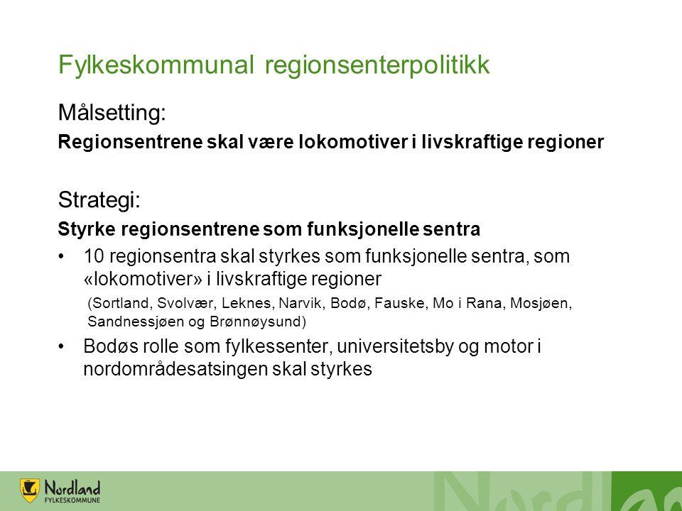 Fylkeskommunal regionsenterpolitikk Målsetting: Regionsentrene skal være lokomotiver i livskraftige regioner Strategi: Styrke regionsentrene som funks