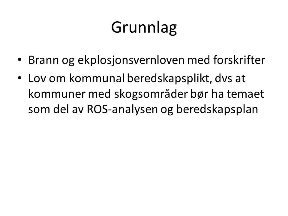 Grunnlag Brann og ekplosjonsvernloven med forskrifter Lov om kommunal beredskapsplikt, dvs at kommuner med skogsområder bør ha temaet som del av ROS-a