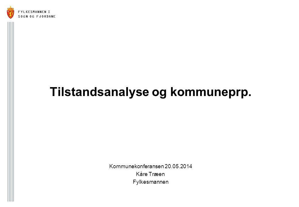 FYLKESMANNEN I SOGN OG FJORDANE Tilstandsanalyse og kommuneprp. Kommunekonferansen 20.05.2014 Kåre Træen Fylkesmannen