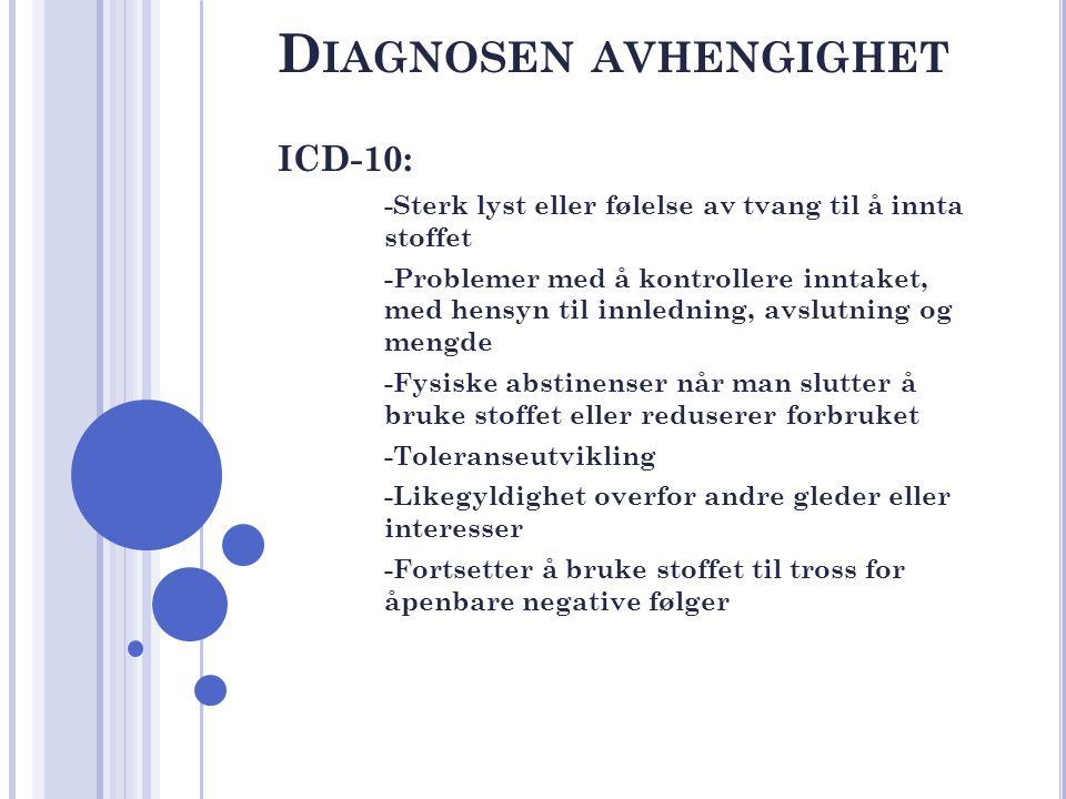 D IAGNOSEN AVHENGIGHET ICD-10: -Sterk lyst eller følelse av tvang til å innta stoffet -Problemer med å kontrollere inntaket, med hensyn til innledning