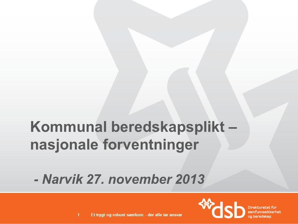 Et trygt og robust samfunn - der alle tar ansvar1 Kommunal beredskapsplikt – nasjonale forventninger - Narvik 27. november 2013