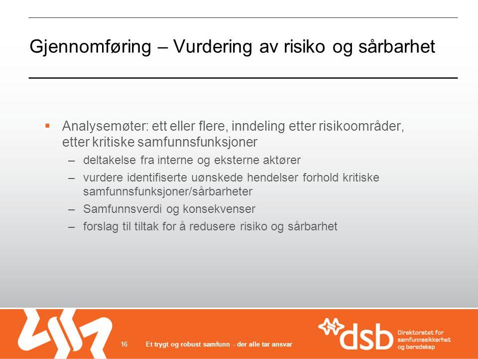 Gjennomføring – Vurdering av risiko og sårbarhet  Analysemøter: ett eller flere, inndeling etter risikoområder, etter kritiske samfunnsfunksjoner –de
