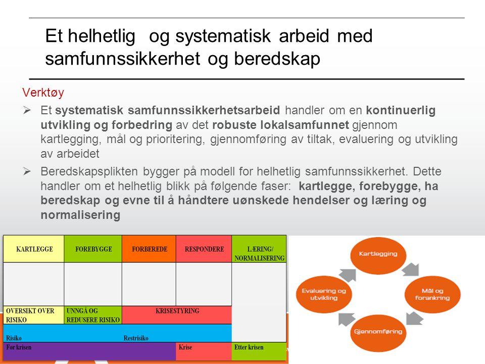 Et helhetlig og systematisk arbeid med samfunnssikkerhet og beredskap Verktøy  Et systematisk samfunnssikkerhetsarbeid handler om en kontinuerlig utv