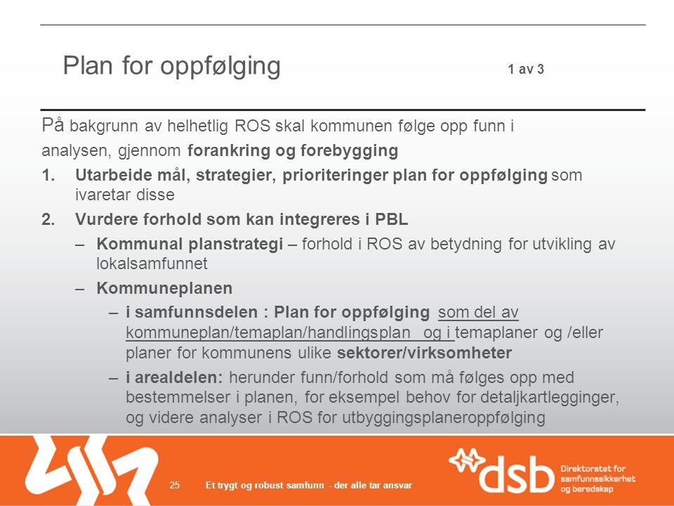 Plan for oppfølging 1 av 3 På bakgrunn av helhetlig ROS skal kommunen følge opp funn i analysen, gjennom forankring og forebygging 1.Utarbeide mål, st