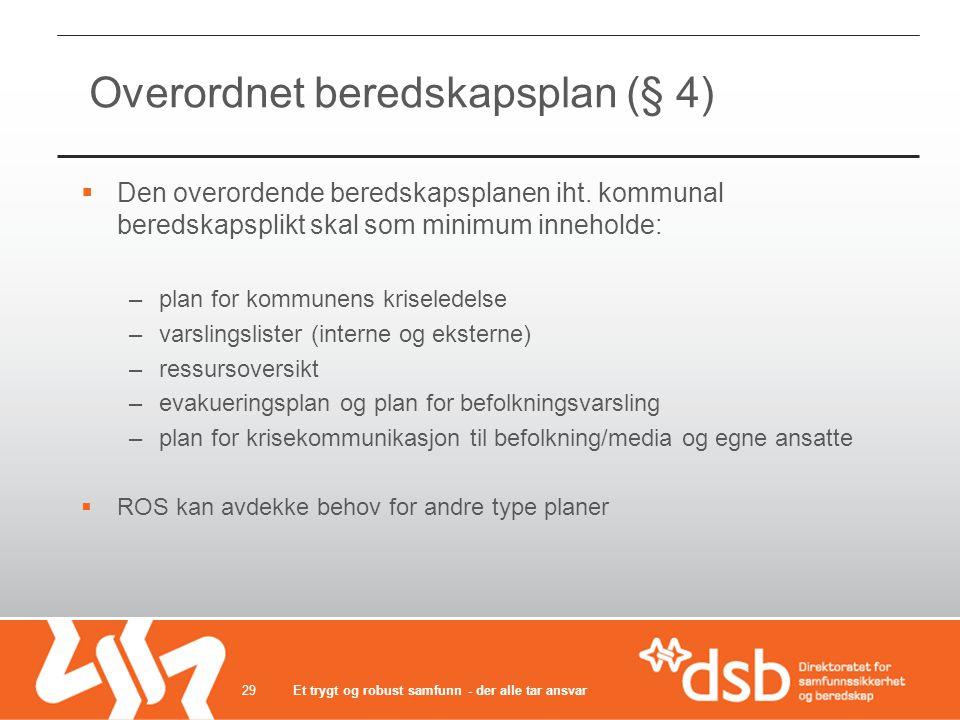 Overordnet beredskapsplan (§ 4)  Den overordende beredskapsplanen iht. kommunal beredskapsplikt skal som minimum inneholde: –plan for kommunens krise