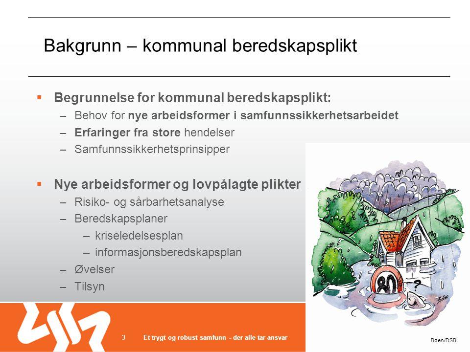 Bakgrunn – kommunal beredskapsplikt  Begrunnelse for kommunal beredskapsplikt: –Behov for nye arbeidsformer i samfunnssikkerhetsarbeidet –Erfaringer