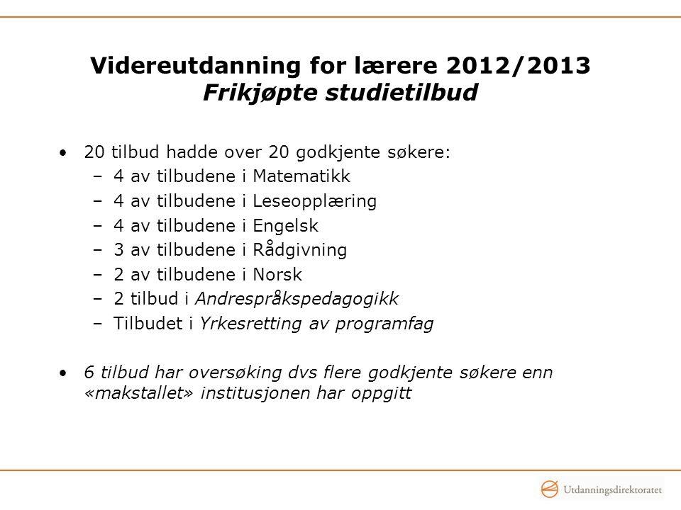 Videreutdanning for lærere 2012/2013 Frikjøpte studietilbud 20 tilbud hadde over 20 godkjente søkere: –4 av tilbudene i Matematikk –4 av tilbudene i L