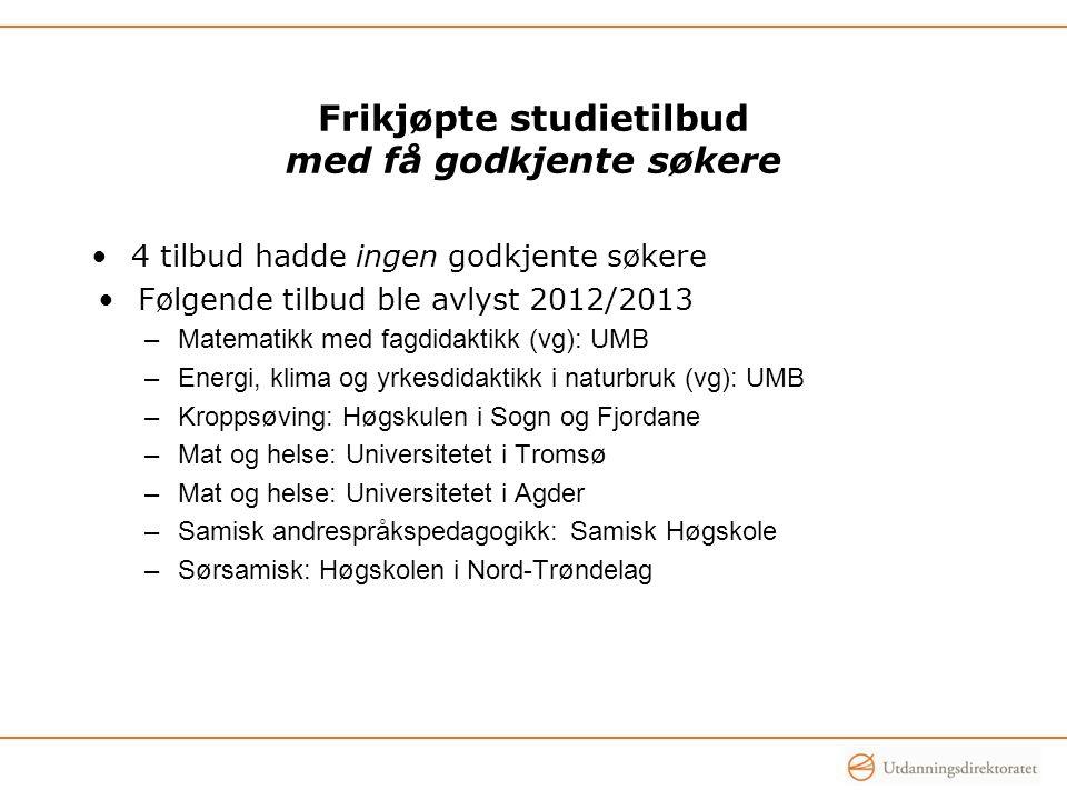 Frikjøpte studietilbud med få godkjente søkere 4 tilbud hadde ingen godkjente søkere Følgende tilbud ble avlyst 2012/2013 –Matematikk med fagdidaktikk