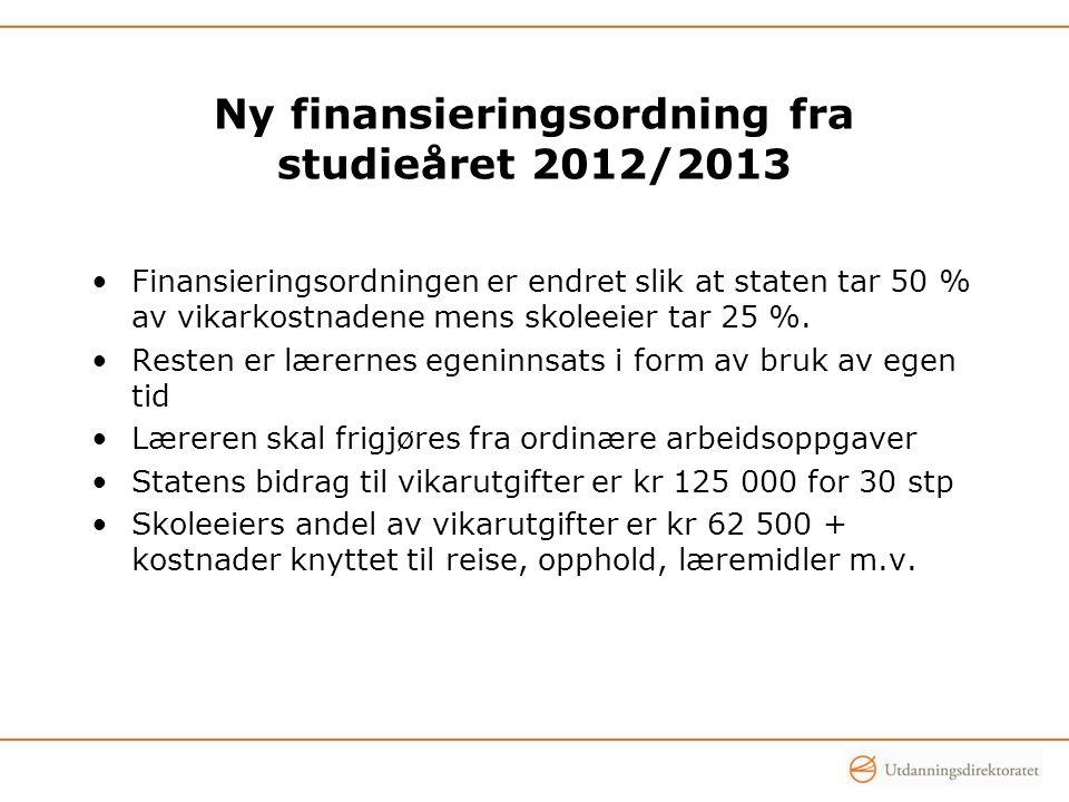 Ny finansieringsordning fra studieåret 2012/2013 Finansieringsordningen er endret slik at staten tar 50 % av vikarkostnadene mens skoleeier tar 25 %.