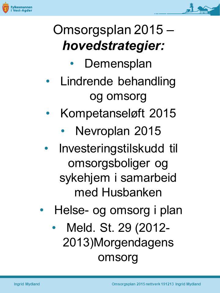 Omsorgsplan 2015 – hovedstrategier: Demensplan Lindrende behandling og omsorg Kompetanseløft 2015 Nevroplan 2015 Investeringstilskudd til omsorgsboliger og sykehjem i samarbeid med Husbanken Helse- og omsorg i plan Meld.