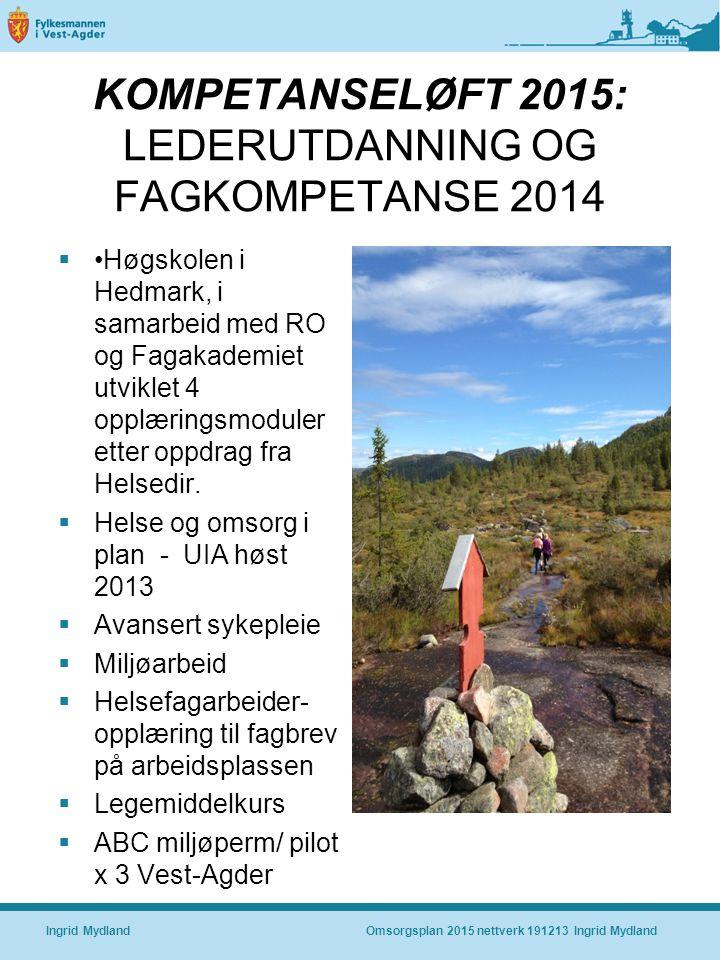KOMPETANSELØFT 2015: LEDERUTDANNING OG FAGKOMPETANSE 2014  Høgskolen i Hedmark, i samarbeid med RO og Fagakademiet utviklet 4 opplæringsmoduler etter oppdrag fra Helsedir.