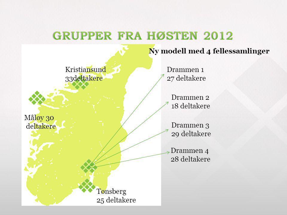 Måløy 30 deltakere Kristiansund 33deltakere Drammen 1 27 deltakere Drammen 2 18 deltakere Drammen 3 29 deltakere Drammen 4 28 deltakere Tønsberg 25 de