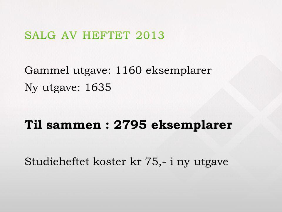Gammel utgave: 1160 eksemplarer Ny utgave: 1635 Til sammen : 2795 eksemplarer Studieheftet koster kr 75,- i ny utgave