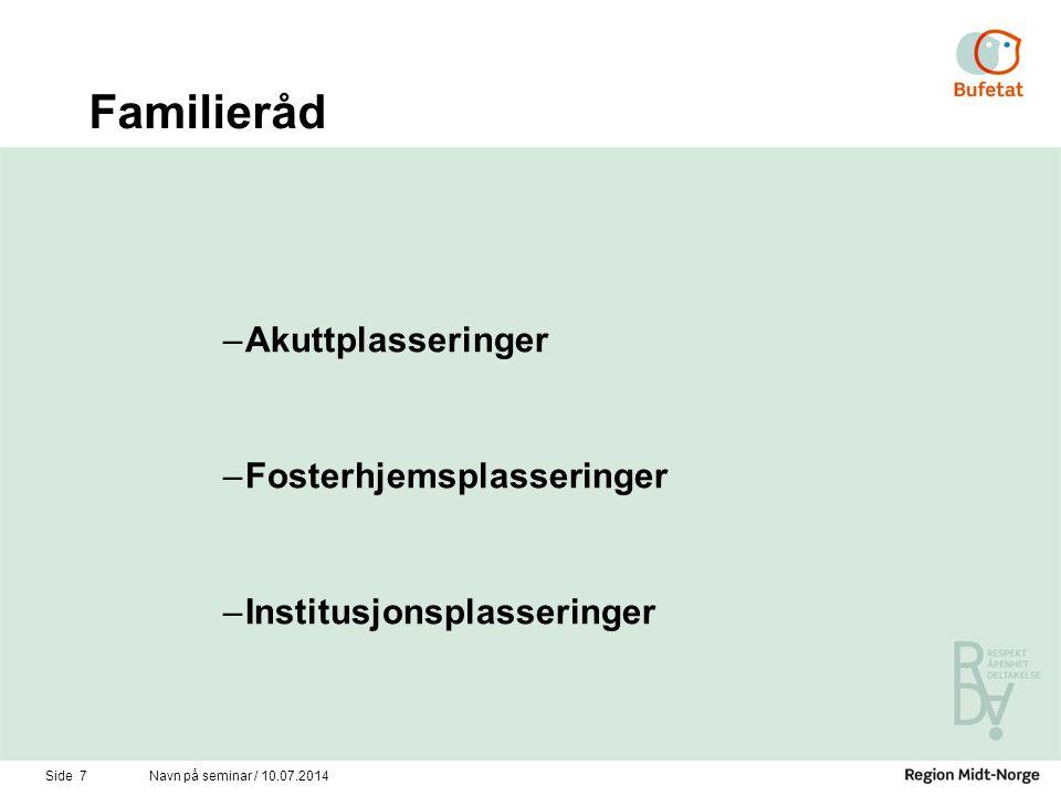 Familieråd –Akuttplasseringer –Fosterhjemsplasseringer –Institusjonsplasseringer Side 7Navn på seminar / 10.07.2014