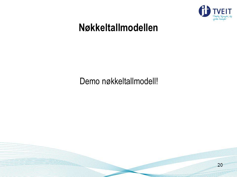 Nøkkeltallmodellen Demo nøkkeltallmodell! 20