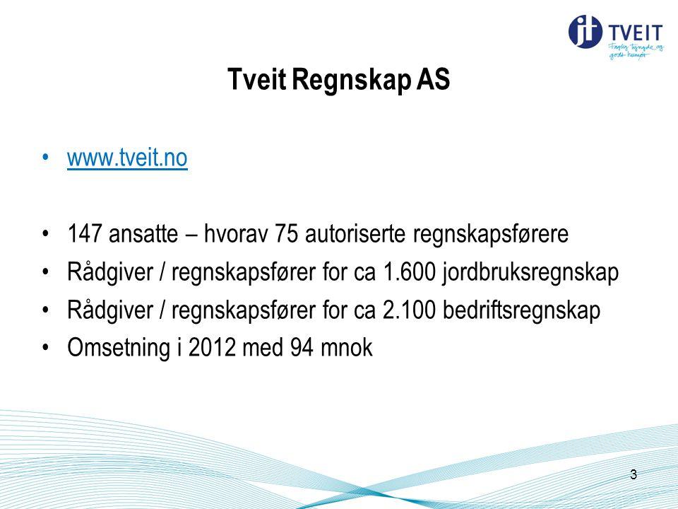 www.tveit.no 147 ansatte – hvorav 75 autoriserte regnskapsførere Rådgiver / regnskapsfører for ca 1.600 jordbruksregnskap Rådgiver / regnskapsfører for ca 2.100 bedriftsregnskap Omsetning i 2012 med 94 mnok 3