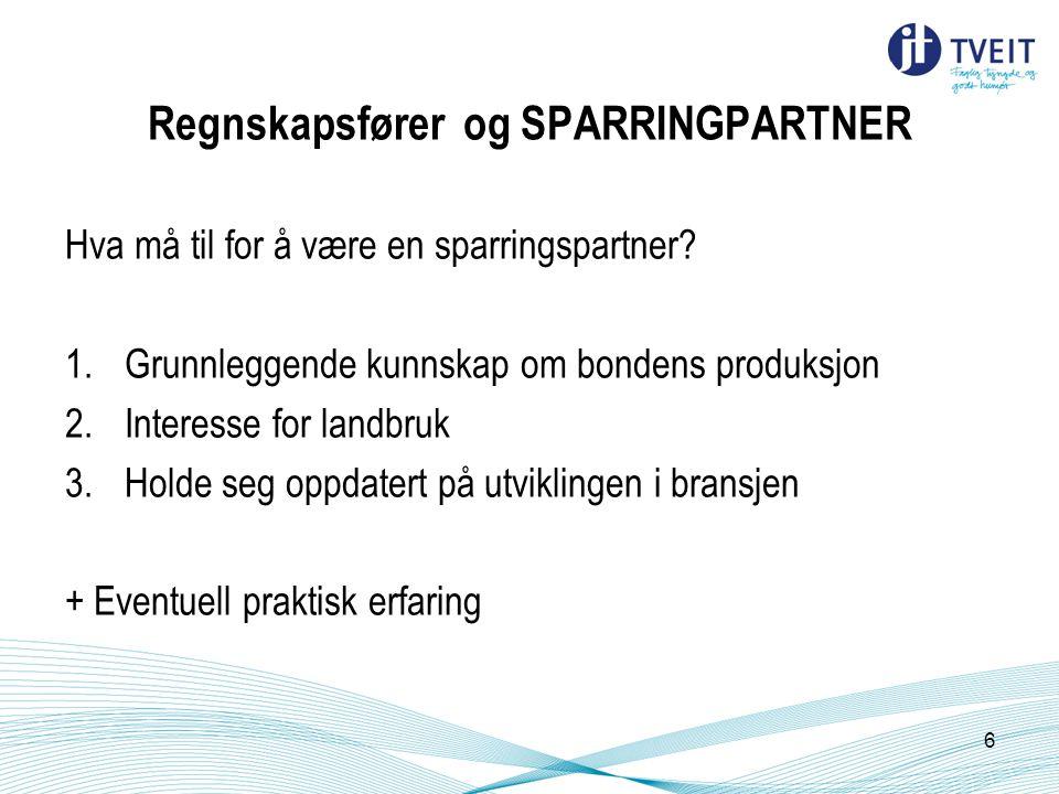Regnskapsfører og SPARRINGPARTNER Hva må til for å være en sparringspartner? 1.Grunnleggende kunnskap om bondens produksjon 2.Interesse for landbruk 3