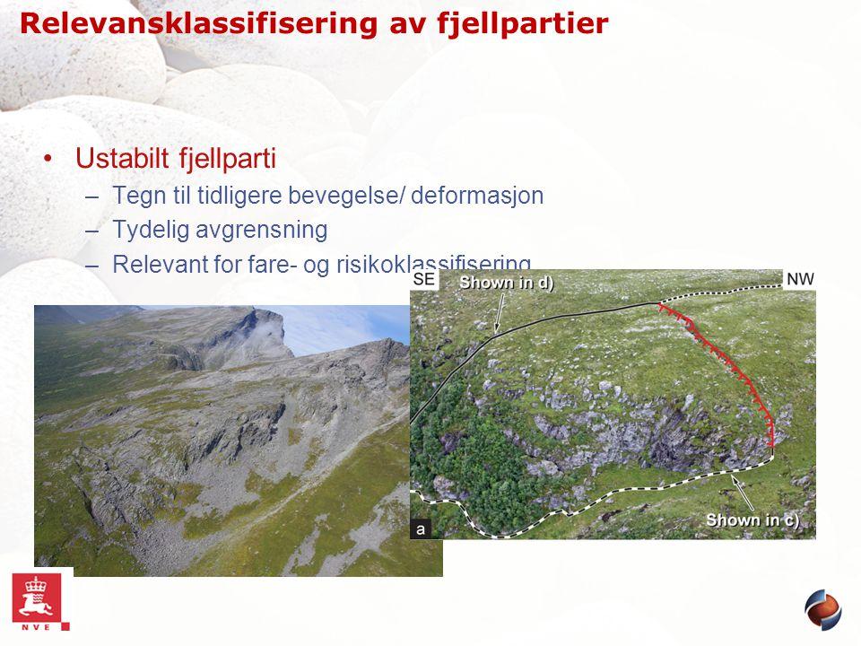 Ustabilt fjellparti –Tegn til tidligere bevegelse/ deformasjon –Tydelig avgrensning –Relevant for fare- og risikoklassifisering Relevansklassifisering
