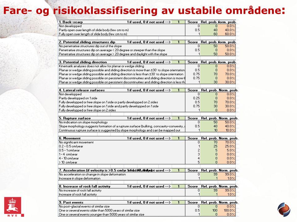 Fare- og risikoklassifisering av ustabile områdene :