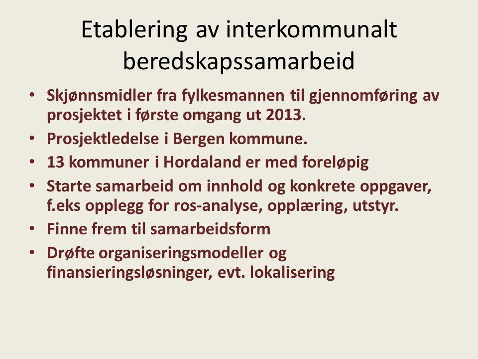 Etablering av interkommunalt beredskapssamarbeid Skjønnsmidler fra fylkesmannen til gjennomføring av prosjektet i første omgang ut 2013. Prosjektledel