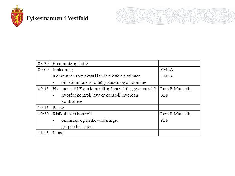 08:30Fremmøte og kaffe 09:00 Innledning Kommunen som aktør i landbruksforvaltningen -om kommunens rolle(r), ansvar og omdømme FMLA 09:45 Hva mener SLF