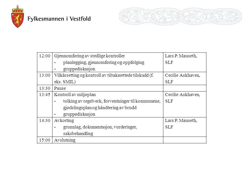 12:00 Gjennomføring av stedlige kontroller -planlegging, gjennomføring og oppfølging -gruppediskusjon Lars P. Mauseth, SLF 13:00 Vilkårsetting og kont