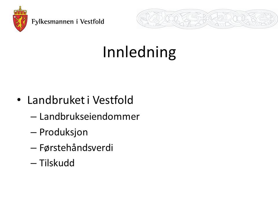 Innledning Landbruket i Vestfold – Landbrukseiendommer – Produksjon – Førstehåndsverdi – Tilskudd