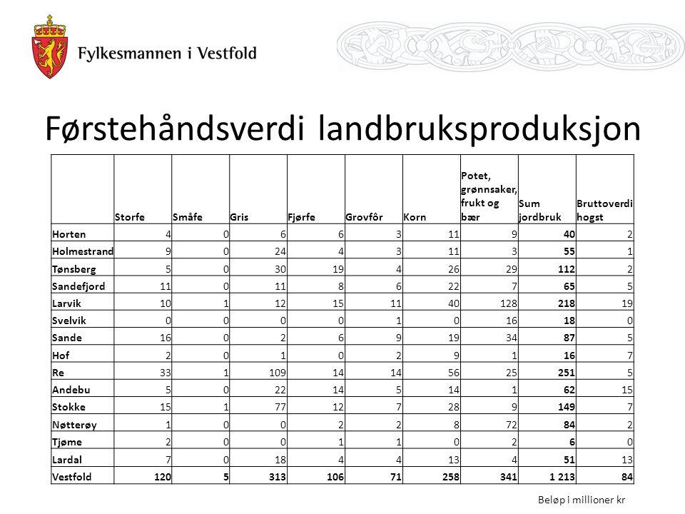 Førstehåndsverdi landbruksproduksjon StorfeSmåfeGrisFjørfeGrovfôrKorn Potet, grønnsaker, frukt og bær Sum jordbruk Bruttoverdi hogst Horten40663119402